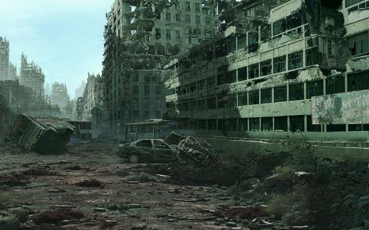 Обои Разрушенный город после страшной трагедии