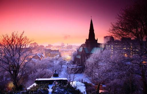 Обои Зимний вечерний город