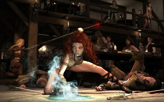 Обои Девушки сражаются в баре с мужчинами