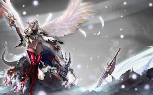 Обои Эльф - ангел с ручным монстром нашли меч в снежных горах