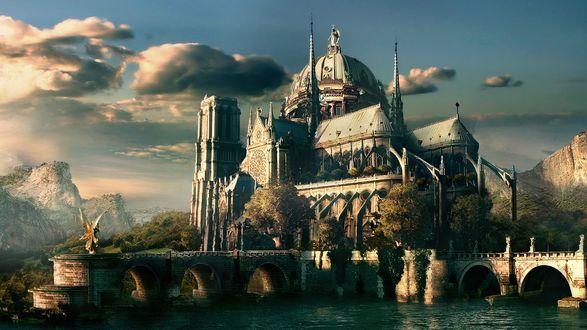 Обои Мост, ведущий к замку