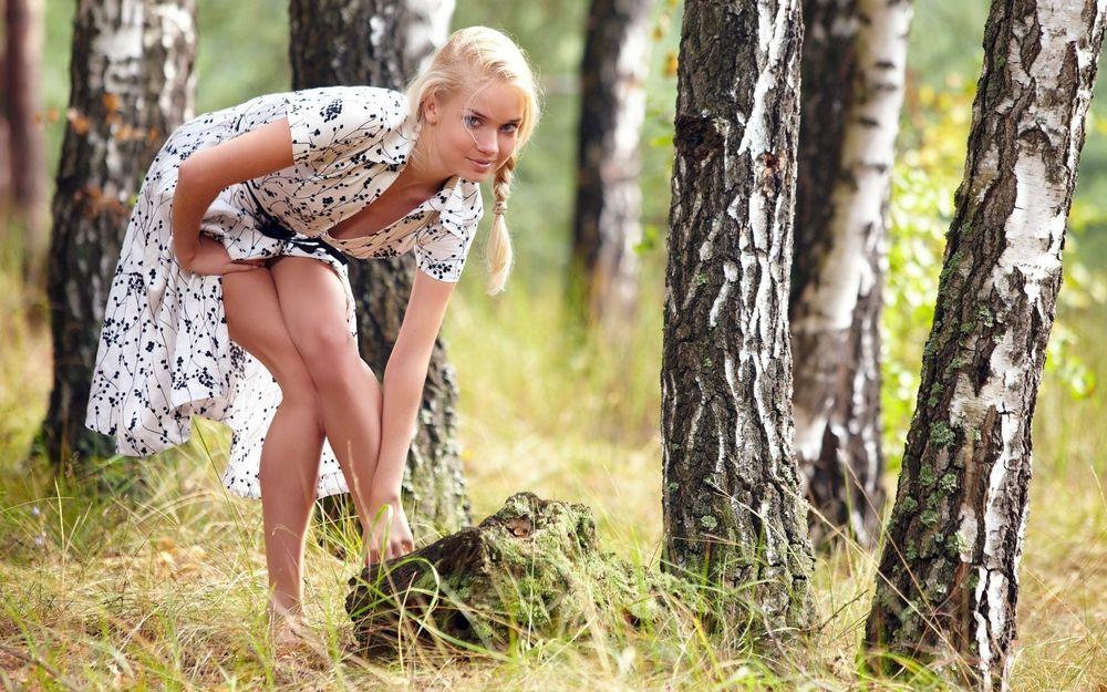 Обои для рабочего стола Девушка в березовом лесу
