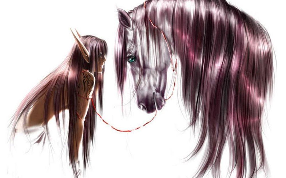 Обои для рабочего стола Парень-эльф с татуировкой и лошадь стоят друг напротив друга
