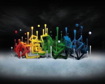 Обои Разноцветные кубы переплетаясь между собой истекают краской