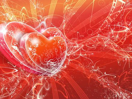 Обои Два влюбленных сердца источают лучи счастья