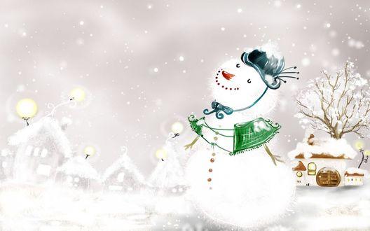 Обои Весёлый, пушистый снеговик