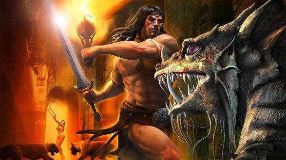 Обои Мужчина с большим мечом воюет против дракона за девушку которую охраняют злые псы