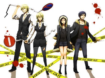 Обои Шизуо и Изая из аниме Durarara в мужском (как они есть) и женском обличае (KEEP OUT)