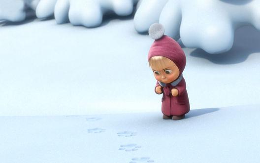 Обои Маша увидела чьи-то следы на снегу - м/ф Маша и Медведь