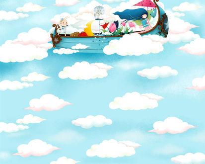Обои Девушка с кроликом плывёт на сказочной лодке по небу (art by Echi)