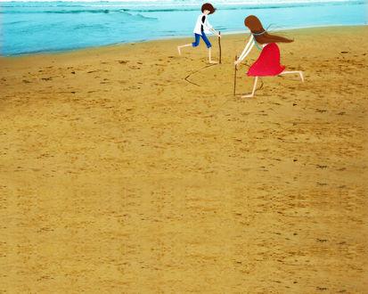 Обои Девушка с парнем на пляже рисуют палочками на песке (art by Echi)