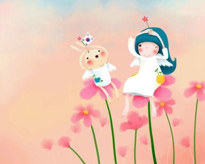 Обои Девочка и кролик с ангельскими крылышками сидят на цветах (art by Echi)