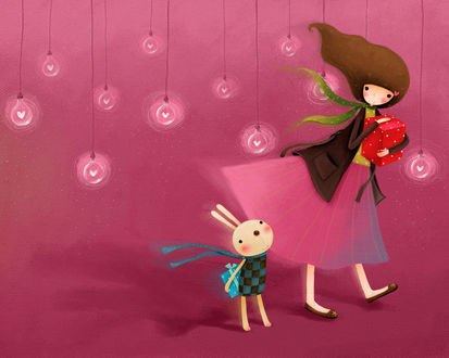 Обои Девушка и кролик с подарками, и лампочки с сердечками на розовом фоне (art by Echi)