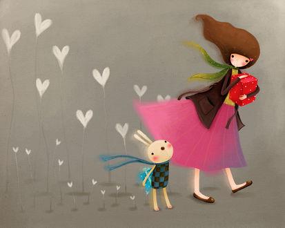 Обои Девушка и кролик с подарками, и сердечки, растущие из земли (art by Echi)