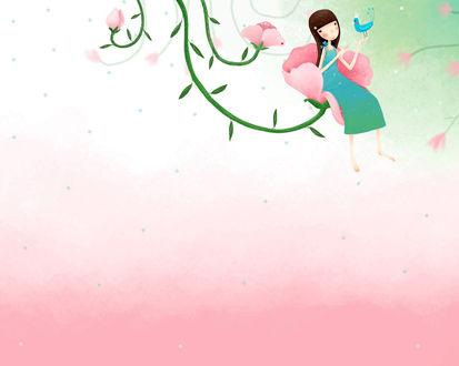 Обои Девушка с птичкой на руке сидит на розовом бутоне (art by Echi)