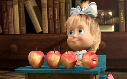 Обои Маша сидит и делит яблоки - м/ф Маша и Медведь