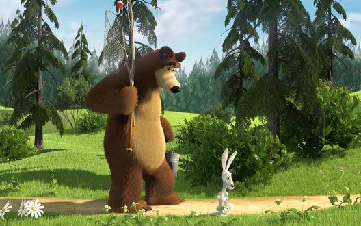 Обои Медведь и Заяц идут на рыбалку - м/ф Маша и Медведь
