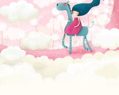 Обои Девочка в розовой долине среди ванильных облаков катается на бирюзовом жирафе (art by Echi)