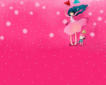 Обои Девочка и кролик с зонтиками под дождём из звёзд (art by Echi)