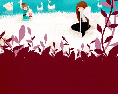 Обои Девушка ангел и кролик у пруда с утками (art by Echi)