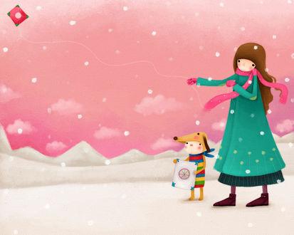 Обои Девочка с кроликом в костюме собачки зимой пускает воздушного змея