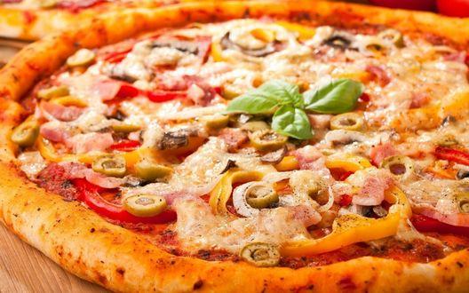 Обои Пицца с грибами