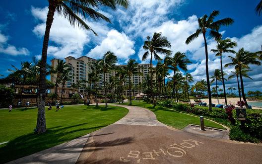 Обои Дорога к отелю на Ko Olina Resort, Hawaii, USA / Гавайи, США