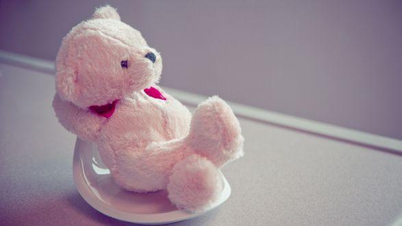 Обои Розовый игрушечный  мишка сидит на подставке