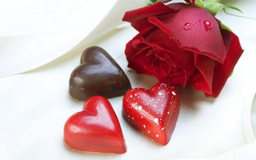 Обои Сладкие сердца и алая роза лежат на белой скатерти
