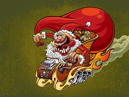 Обои Бешеный Санта в огненных санях, летит навстречу  детям, размахивая мешком подарков