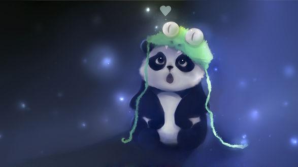 Обои Удивленный панда в шапочке змеи, art by Apofiss