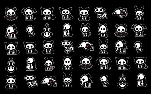 Обои Зверушки с белыми скелетами и красными сердцами (Skelanimals): собаки, кошки, дельфины, змеи, зайцы, медведи, обезьяны, слоны