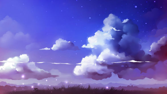 Обои Фантастически красивый ночной пейзаж: небо, облака, призрачный кролик сидит в траве, летают светлячки (art by Apofiss)