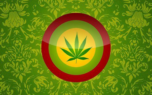 Обои Лист конопли в желто-красно-зеленом круге, ганджа