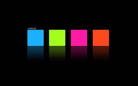 Обои Квадратики на черном фоне: оранжевый, малиновый, зеленый, голубой (Colours)
