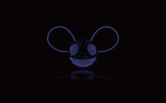 Обои Deadmau5, синяя неоновая мышь на черном фоне