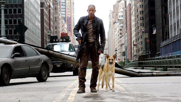 Обои Will Smit / Уилл Смит в роли Роберта Невилла / Robert Neville из фильма I Am Legend / Я - легенда