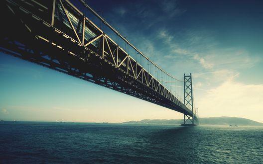 Обои Самый длинный подвесной, или как еще его часто называют, висячий мост в мире находится в Японии и называется Акаси-Кайкё, также известный как Pearl Bridge