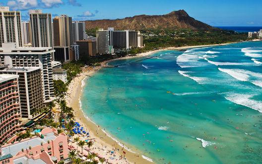 Обои Пляж Вайкики / Waikiki с высоты птичьего полета, Гонолулу / Honolulu, Гавайи / Hawaii, США
