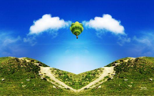 Обои Воздушный шар парит в небе