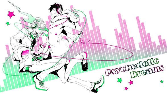 Обои Шизуо и Изая из аниме Durarara!! в наушниках слушают музыку и танцуют (Psychedelic Dreams)