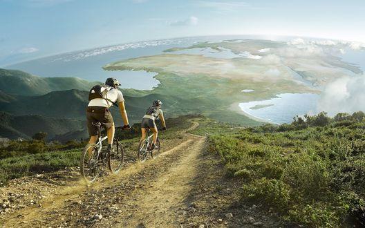Обои Парень и девушка путешествуют по миру на велосипедах