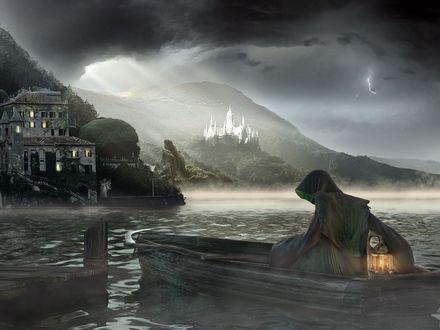 Обои Смерть с косой плывёт на лодке к замку, рядом с которым виднеется фигура белого ангела