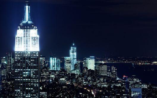 Обои New York City / Нью-Йорк ночная панорама