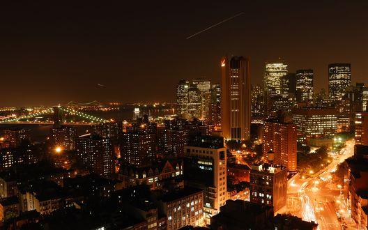 Обои Вид на ночной Манхэттен / Manhattan
