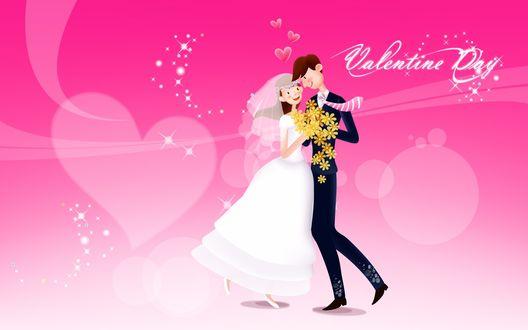 Обои Влюблённая пара танцует и вокруг них летают сердца (Валентинов День / Valentine Dey)