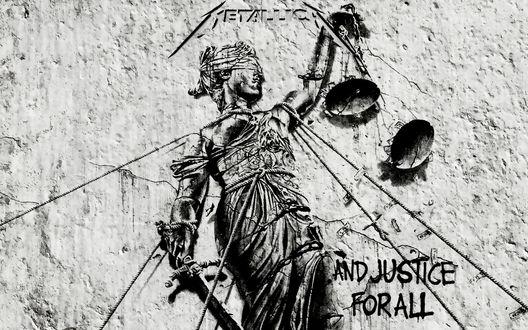 Обои Обложка альбома группы Metallica 1988 года  And Justice for All / И правосудие для всех