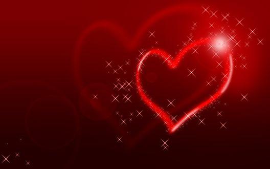 Обои Блестящие сердца на алом фоне