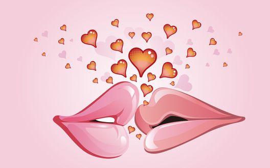 Обои Нежный поцелуй двух губ