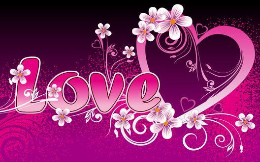 Обои Красивая надпись LOVE / Любовь с сердцами и цветами
